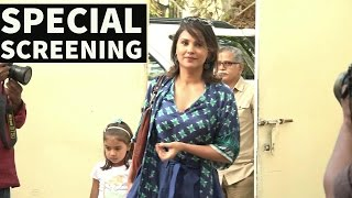 Lara Dutta With Daughter   Special Screening   A Dogs Purpose