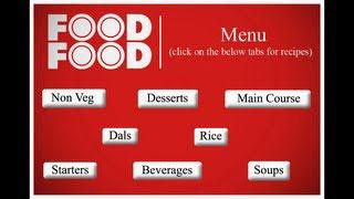 Food Food Menu Page