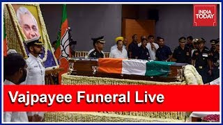 Mortal Remains Of Atal Bihari Vajpayee Taken To BJP Headquarters