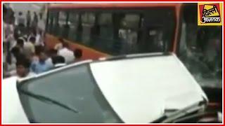 Cluster Bus Mows Down 4 Vehicles; 4 Injured