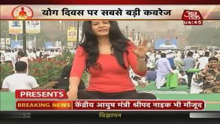 Anjana Om Kashyap With Yoga Guru Vandana Agarwal At Rajpath   AajTak Special Coverage