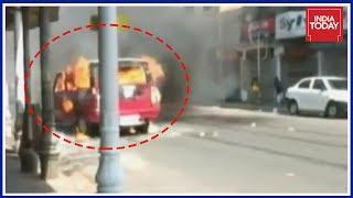 Police Vehicle Set Ablaze During BJP Stir In Kolkata