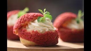 Red Velvet Cream Puffs | Sanjeev Kapoor Khazana