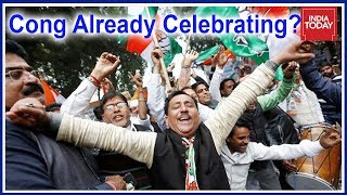 Congress Starts Celebrates In Delhi HQ: 1 Year Of Rahul Gandhi As President #Results2018