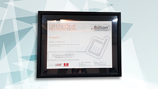 ZengaTV has been awarded the prestigious mBillionth Award For Innovation In M-Entertainment